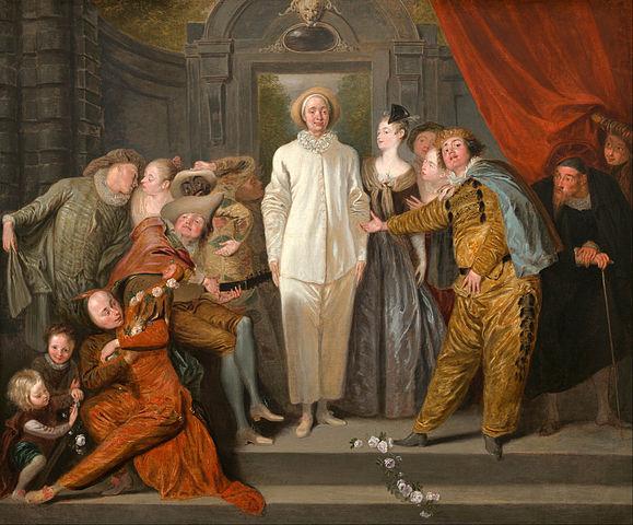 Les Comédiens italiens (huile sur toile de Watteau, v. 1720.