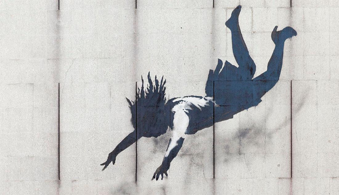 """pochoir """"faites les courses jusqu'à la chute"""" de Banksy"""