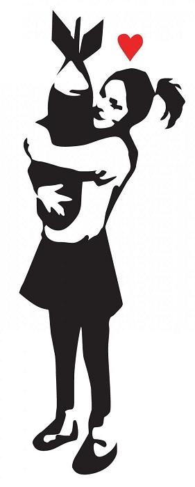 Banksy little girl loves the bomb
