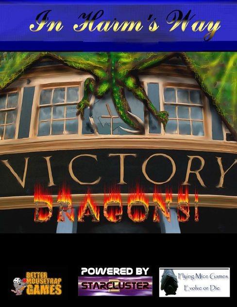 Couverture de In Harm's way: Dragons, par Flying Mice Games, représantant un dragon sur la façade d'un bâtiment, entrant la tête dans une fenêtre