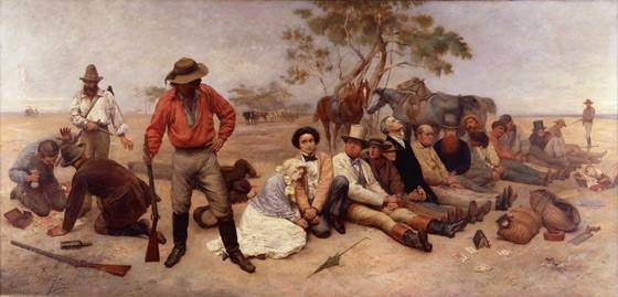 tableau représentant des bandits de grand chemin, en train de voler des objets à une dizaine de personnes, dans un paysage désertique