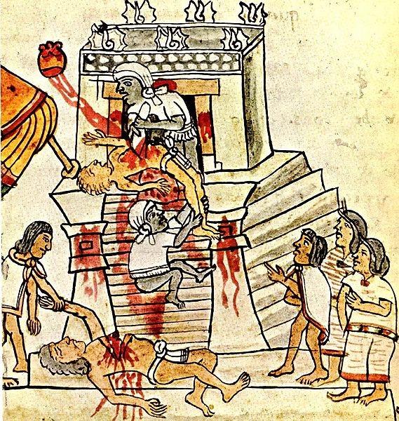 illustration ancienne d'un sacrifice aztèque