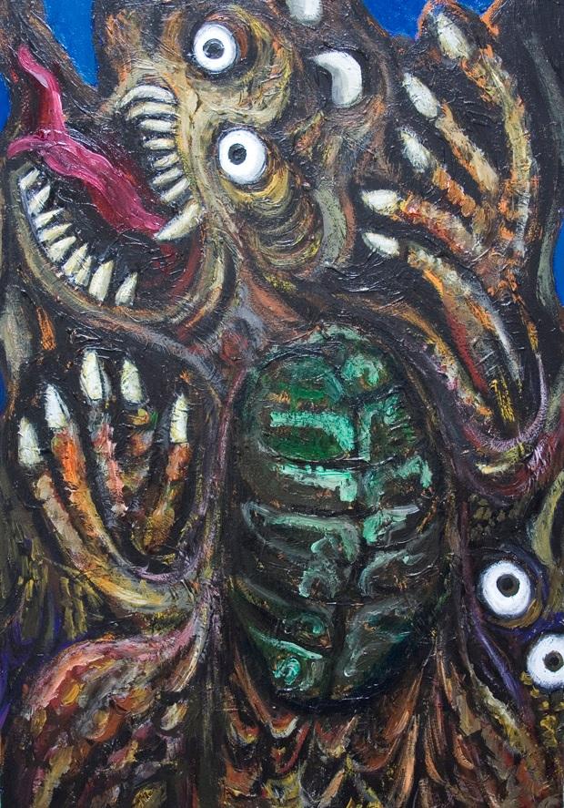 Peinture représentant un dragon effrayant, se tenant de face, ventre vert, gueule ouverte, yeux ronds grand ouverts.
