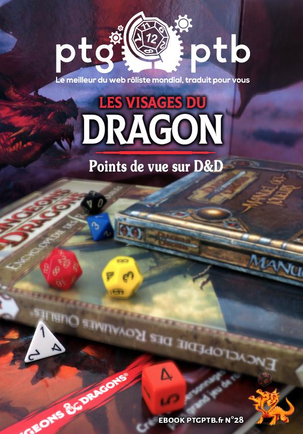 La couverture de l'ebook est une photo de livres de règles les uns sur les autres, avec des dés à plusieurs faces posés dessus, et un écran de jeu sur lequel est dessiné un dragon rouge.