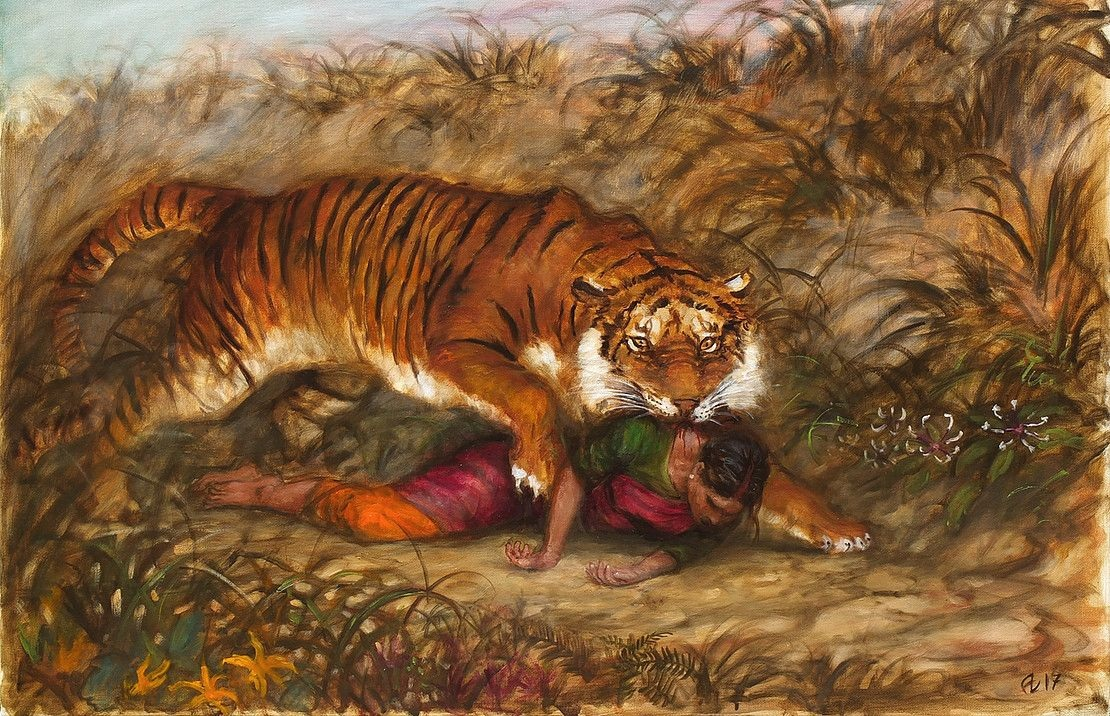 peinture de tigre dévorant une femme indienne