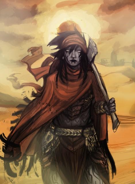 illustration représentant un personnage à la peau grise, portant un châle rouge, dans un désert, une hache dans la main