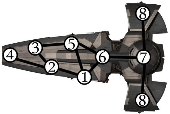 Infiltrator sith (Star Wars) avec les noeuds numérotés
