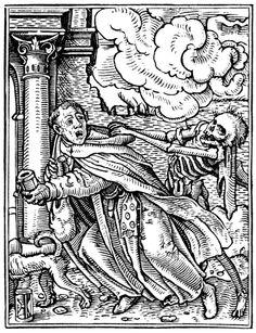 gravure ; moine mendiant rattrapé par la mort