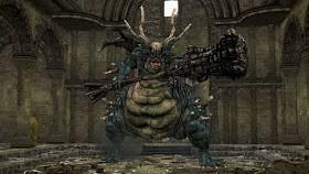capture d'écran de jeu vidéo où l'on peut voir un boss, une sorte de dragon avec un marteau