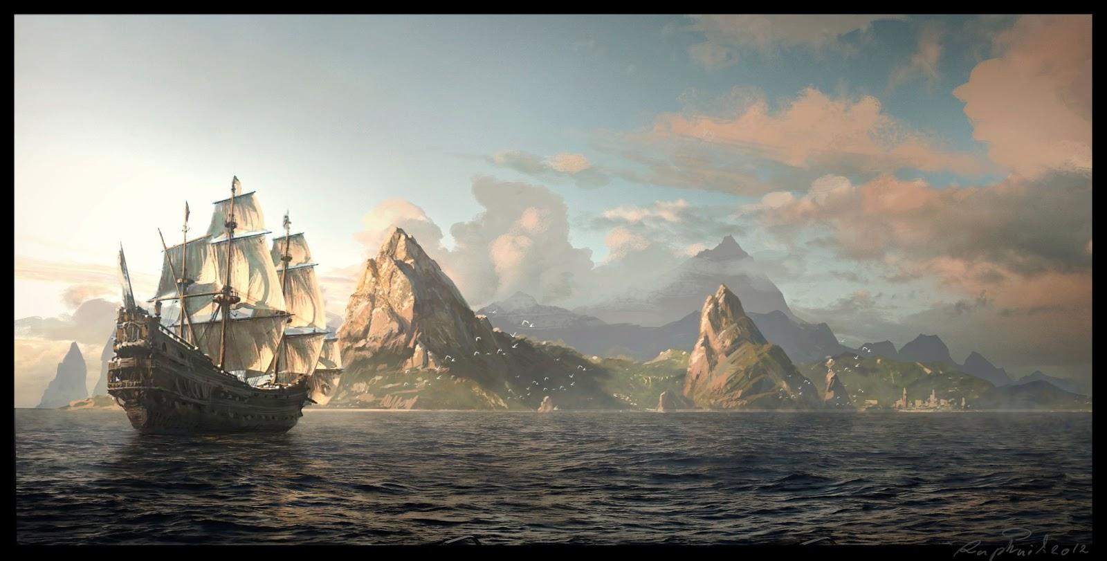 gallion arrivant près d'une île rocheuse inexplorée