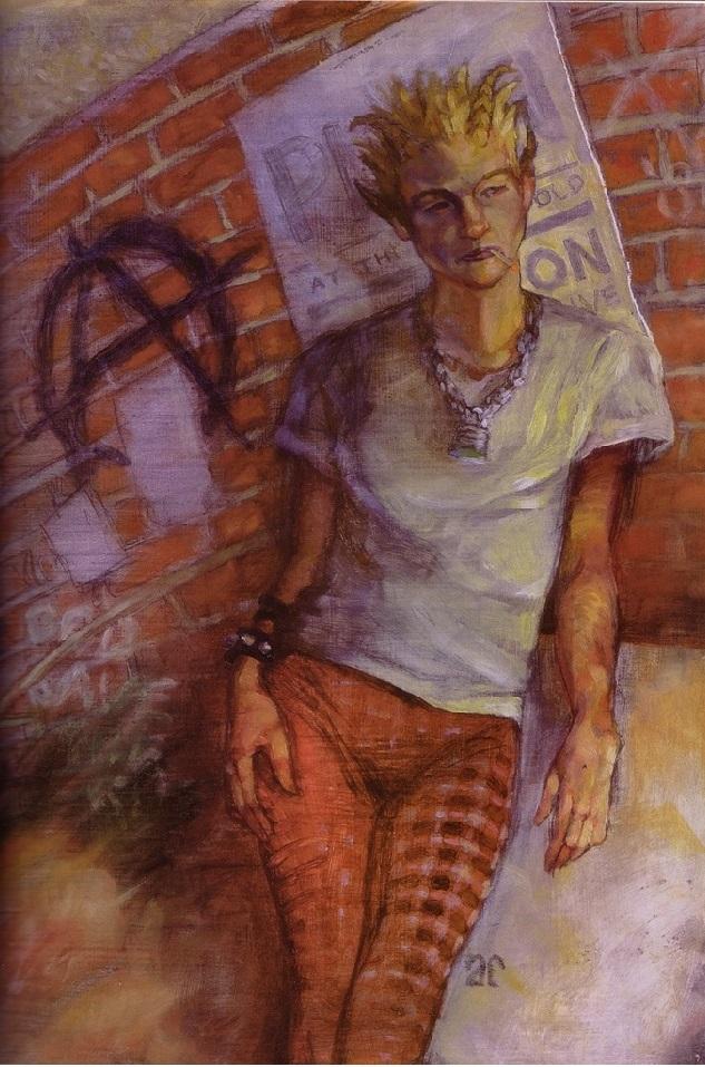 personnage mince, cheveux en pétard, avec bracelets à clous, leggings à motif écossais, chaîne et cadenas autour du cou. Derrière le personnage se trouve un mur de briques où est tagué le A de anarchie