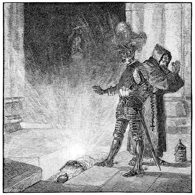 Le Moine et le Guerrier ouvrent la tombe du croisé