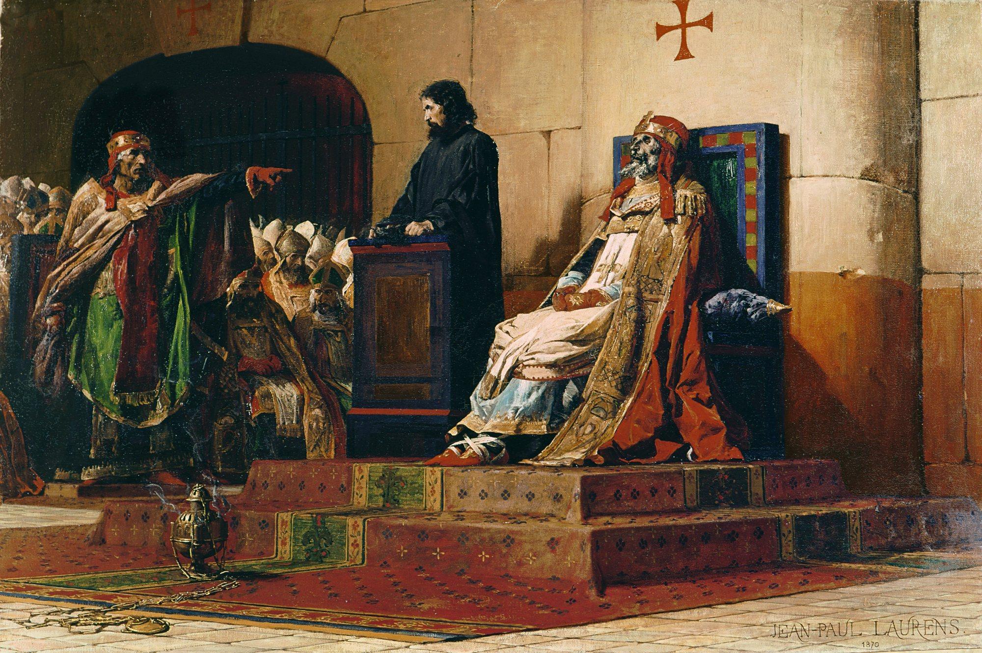 Tableau de JP Laurens : Le pape Formose et Étienne VI