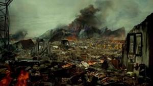 Images d'une ville en ruine après une catastrophe